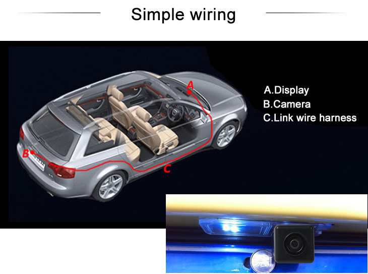 Digital TV HD Wired Car Parking Backup Reversing Camera for 2013 NEW Honda SPIRIOR Waterproof Blue Ruler Night Vision free shipping