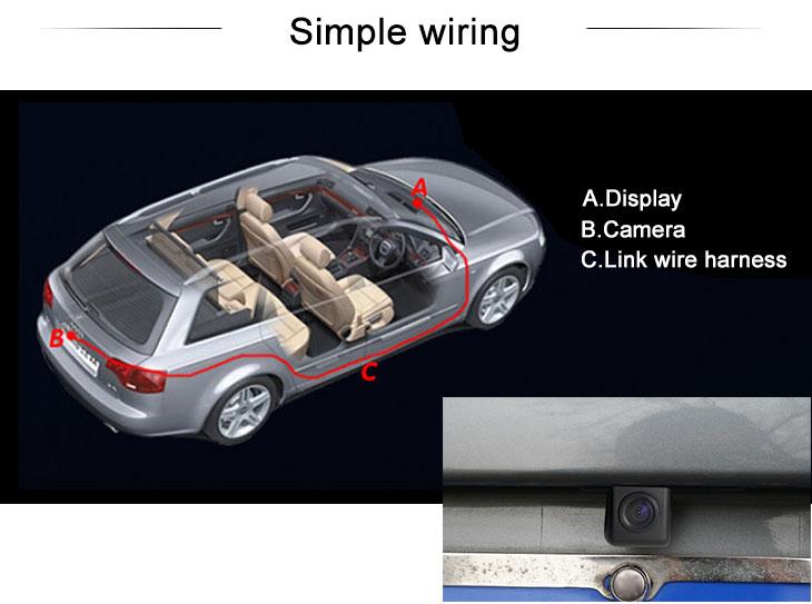 Digital TV 170° HD Waterproof Blue Ruler Night Vision Car Rear View Camera for Subaru TRIBECA free shipping