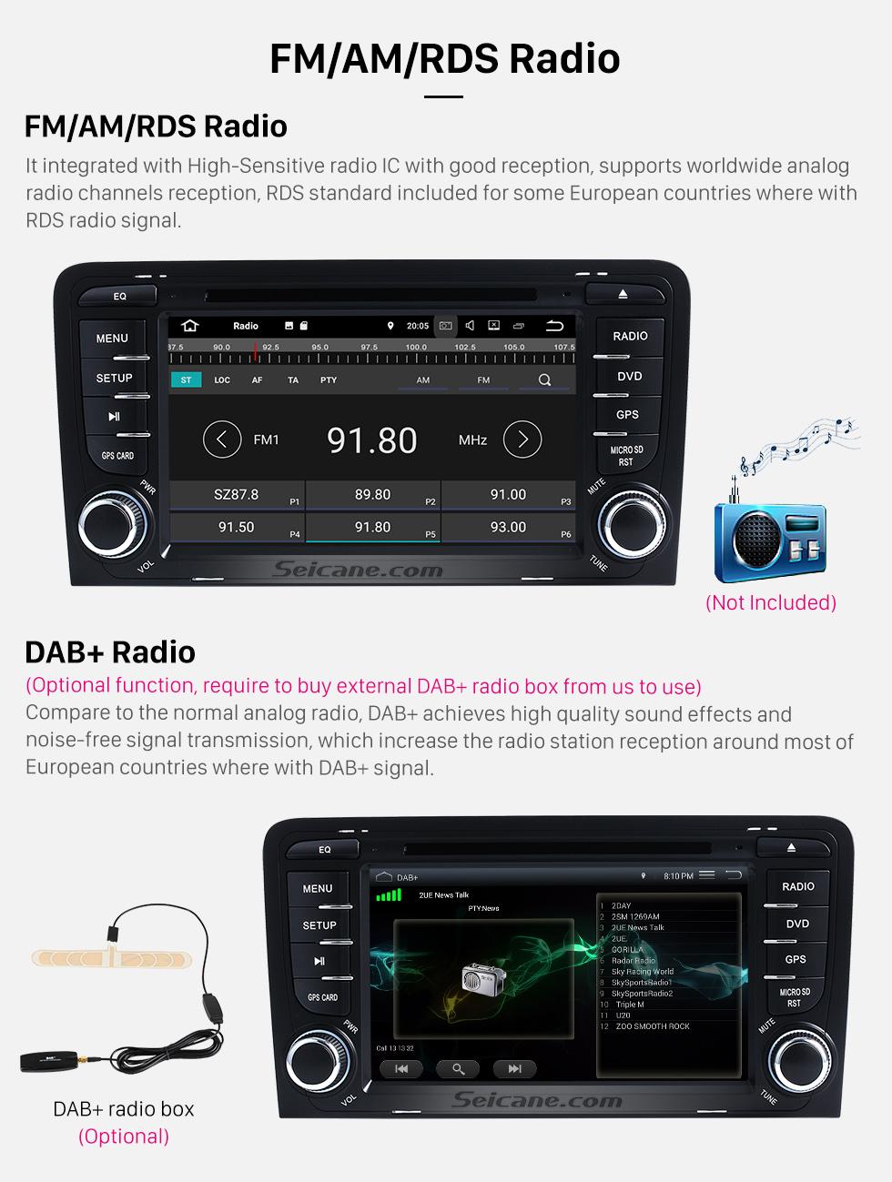 Seicane Seicane S127683 16G 2003-2011 Audi A3 Android 7.1.1 Автомобиль Радио навигация Aftermarket стерео с Четырехъядерные процессоры CPU AM FM Radio Зеркало Ссылка OBD2 3G WiFi Bluetooth DVD HD 1024*600 Мульти-сенсорный экран Auto A/V HD 1080P видео