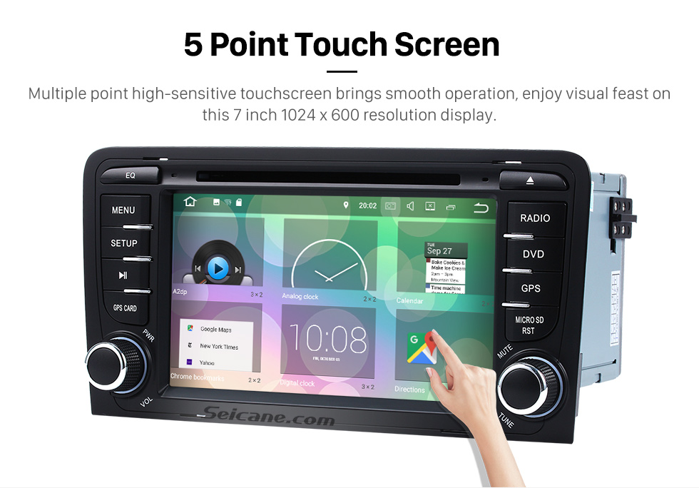 Seicane Seicane S127683 16G 2003-2011 Audi A3 Android 7.1.1 Autoradio Navigation Aftermarket   Stereo with Quad-core CPU AM FM Radio Mirror Link OBD2 3G WiFi Bluetooth DVD HD 1024*600   Multi-touch Screen Auto A/V HD 1080P Video