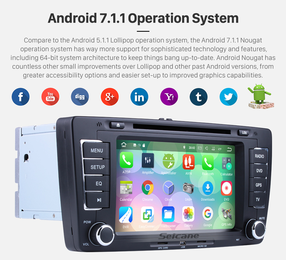 Seicane Seicane S127699 Quad-core Android 7.1.1 2009-2013 Skoda Octaiva DVD Bluetooth Aftermarket OEM GPS Stereo with 3G WiFi Radio RDS 16G Flash Mirror Link OBD2 Rearview Camera Steering Wheel Control HD 1024*600 Multi-touch Screen