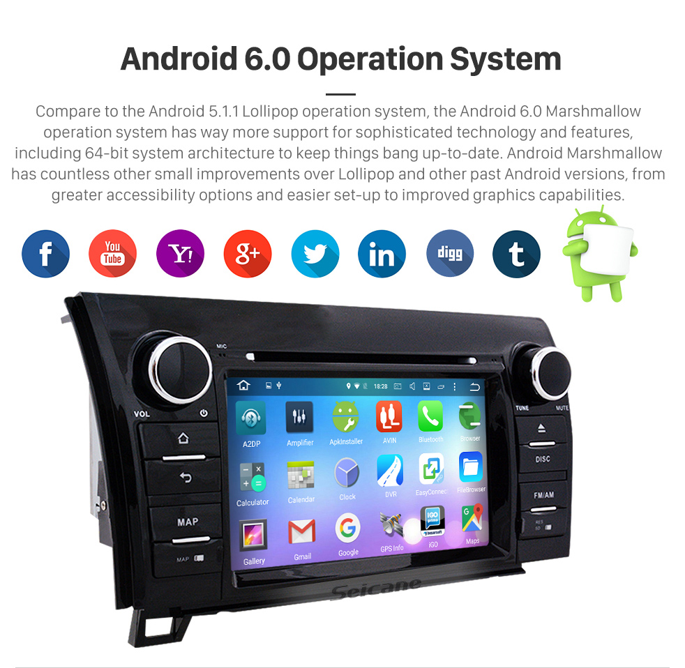 Seicane Android 6.0 Aftermarket DVD Player GPS Navigation System For 2008-2015 Toyota Sequoia Support Radio Bluetooth WIFI Rearview Camera TV Tuner USB SD 1080P Video DVR