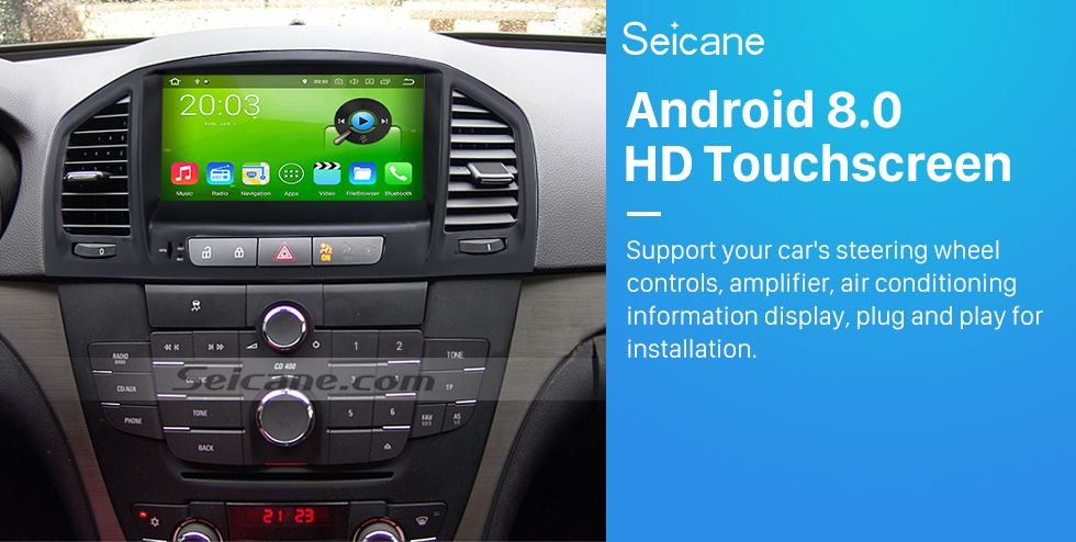 Seicane Aftermarket 8 inch Android 8.0 2008-2013 Opel Vauxhall Insignia Buick Regal Car Audio GPS Navigation System with HD 1024*600 Touch Screen Bluetooth Music MP3 3G WiFi DVD Player 1080P AUX Steering Wheel Control Backup Camera