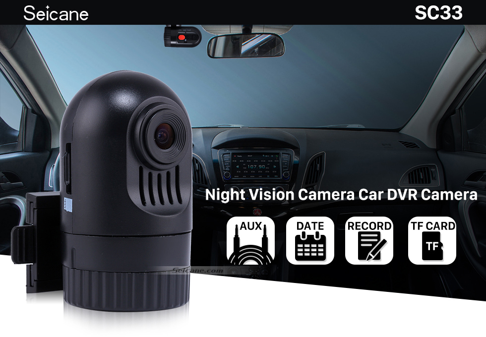 Seicane Cheap Night Vision Security Camera Car DVR Camera with AUX connection G-sensor Date Setting Motion Detection Loop Recording Free Shipping