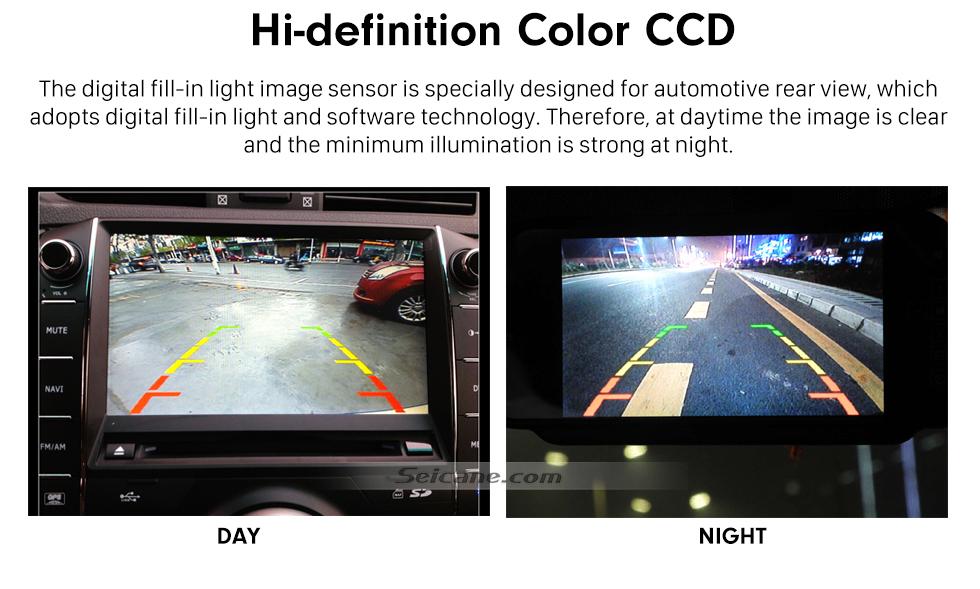 Seicane Sistema de assistência ao estacionamento para carro 170 graus de alta definição CCD grande angular HD backup câmera reversa com visão noturna impermeável
