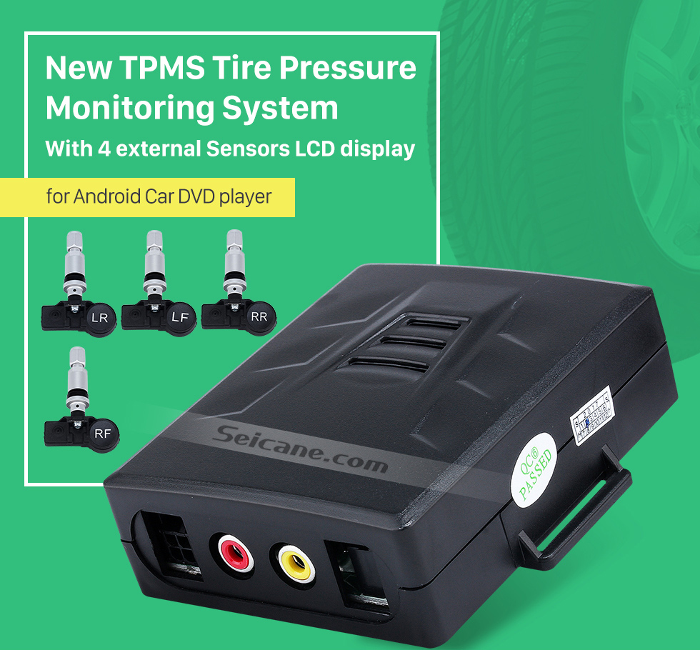 Seicane New TPMS Tire Pressure Monitoring System for Android Car DVD player with 4 external Sensors LCD display