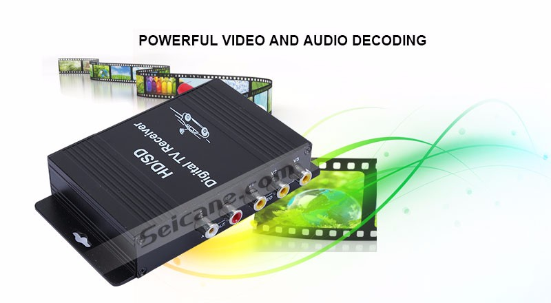 Seicane High Quality ATSC HD Digital TV Receiver with Visa 4 Video Output and Input 2 for Audio Out Put 12V DC 50-810KM/H EPG