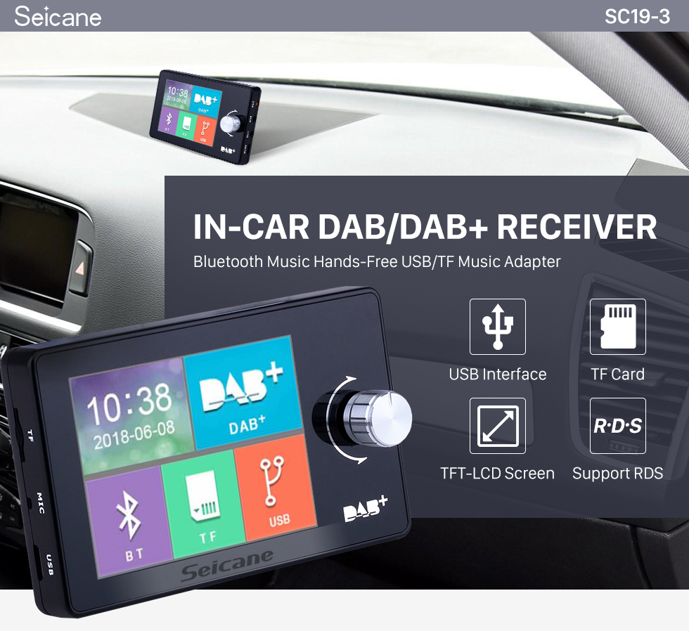 Seicane In-Car DAB/DAB+ Receiver Bluetooth Music Hands-Free USB/TF Music Adapter with 2.8 inch true color TFT-LCD screen