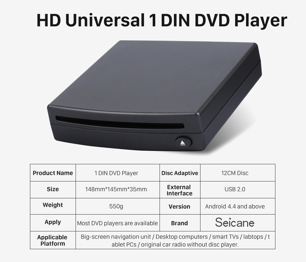 HD Universal 1 DIN DVD Player Alta Qualidade Universal External Android com tela de toque completa carro DVD interface USB especial