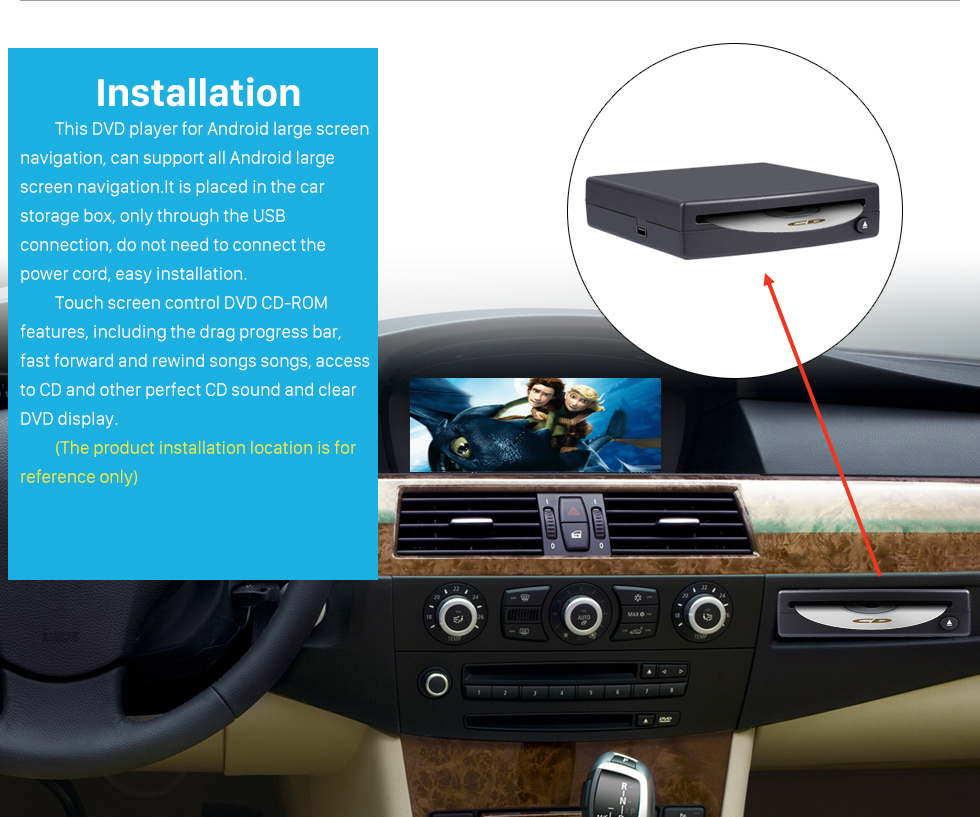 Installation Hohe Qualität Universal External Android Voll Touch-Screen-Auto-DVD-Spieler spezielle USB-Schnittstelle