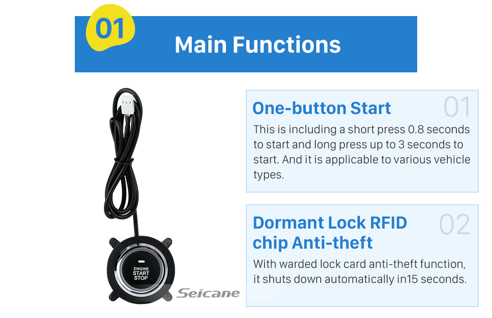 Seicane Universal Dormant Lock Remote Control Engine system with One Button Start Stop Anti-theft Car Alarm system