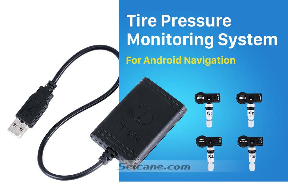 Seicane Portable Car USB TPMS  with 4 Internal  External Sensors for Aftermarket Android radio Tire Pressure Monitoring Auto Alarm System