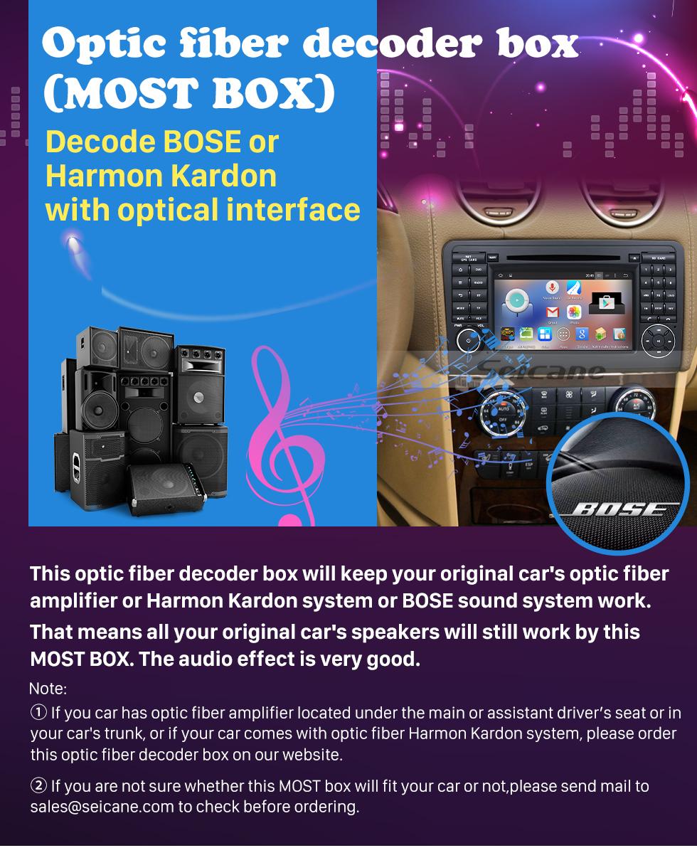 Seicane 2005-2012 Mercedes Benz GL Класс X164 GL300 GL320 GL350 GL420 GL450 GL500 GL550 Автомобильный оптоволоконный декодер Интерфейс Most Box Интерфейс Bose Harmon Kardon Цифровой усилитель звука