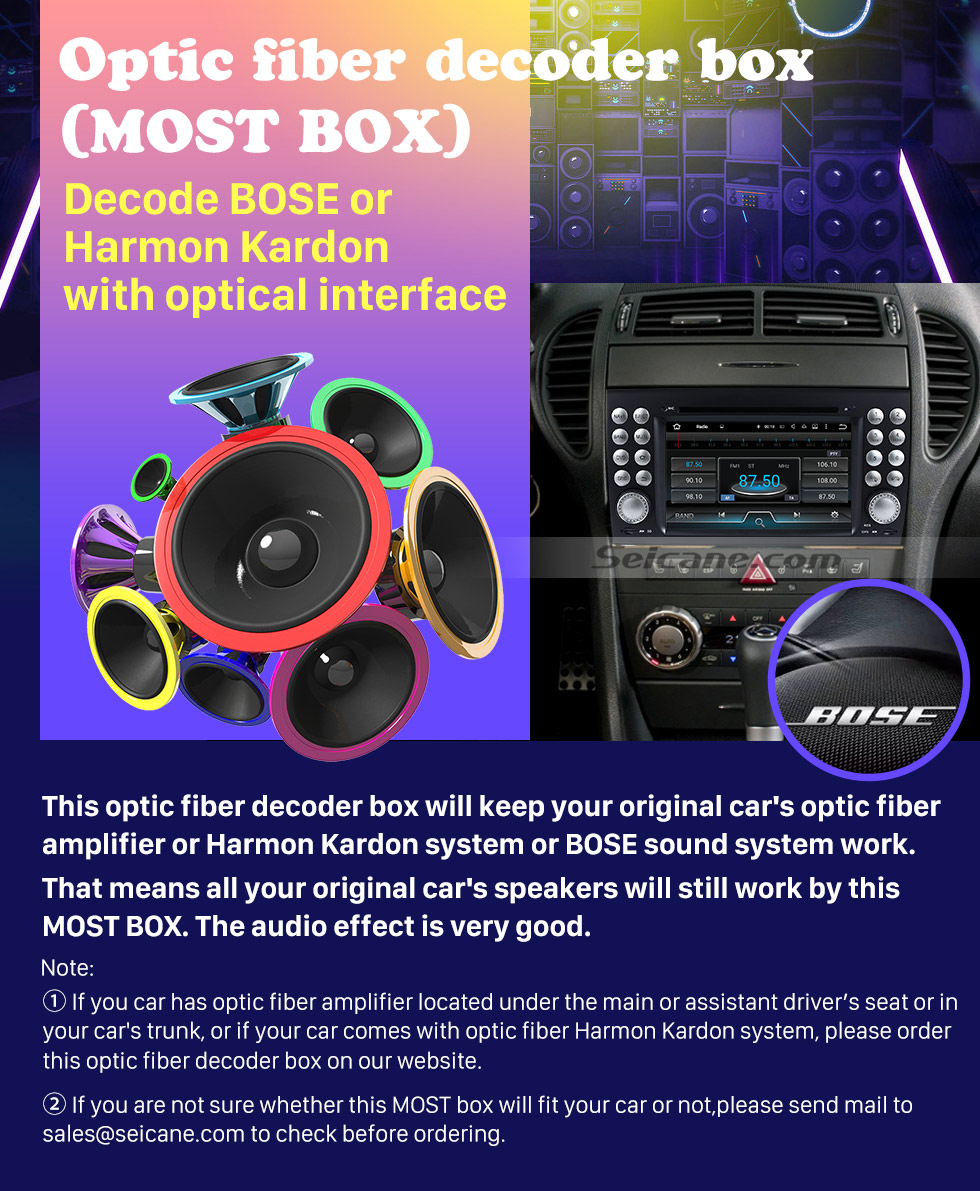 Seicane 2004-2012 Mercedes-Benz SLK W171 R171 SLK200 SLK280 SLK300 SLK350 SLK55 Car Optical Fiber Decoder Most Box Amplifier Bose Harmon Kardon Audio Decode Adapter