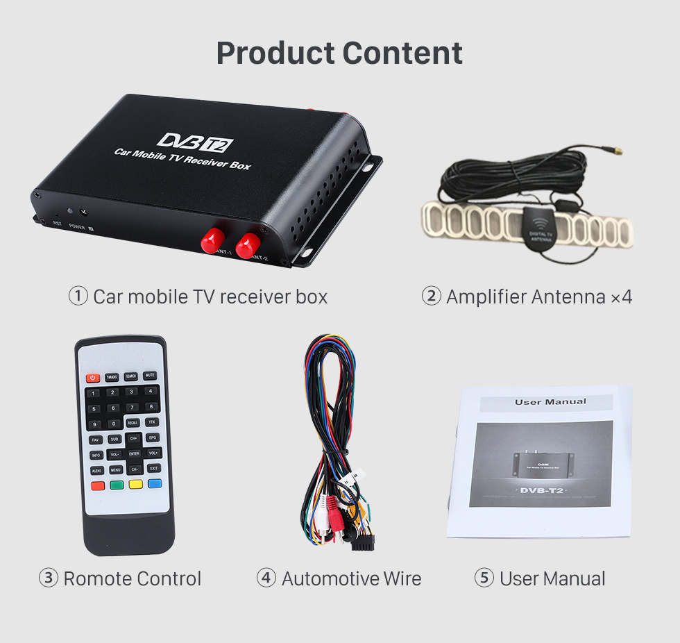 Seicane Car Digital TV DVB-T2 H.265 Video Receiver TV BOX For Germany Region Car DVD Player with 1080P HDMI Interface 4 Amplifier Antenna Tuner