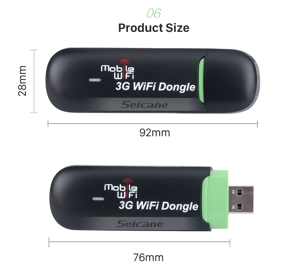 Seicane Portable External 3G Module Internet WIFI Modem support up to 8 WiFi-enabled devices for Car Radio DVD Player