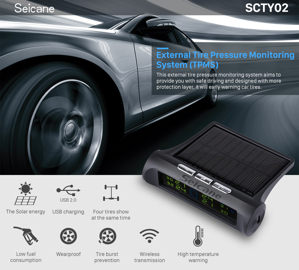 Seicane New TPMS Solar Power Car Wireless External Tire Pressure Monitoring System LCD Display with 4 External Sensors