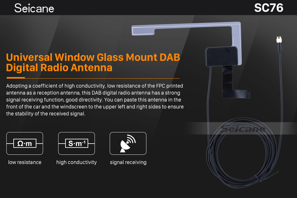 Seicane Auto Car Universal Window Glass Mount DAB Digital Radio Antenna SMB Female Right Angle Connector