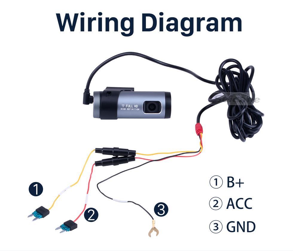 Seicane HD 1920x1080P Caméra de voiture Contrôle vocal Enregistreur Wifi Caméra DVR Enregistrement Angle de 140 degrés