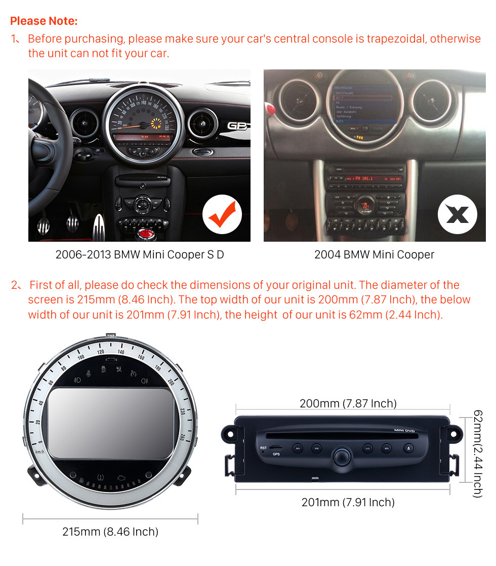 Seicane Android 10.0 Car GPS Navigation DVD Player For 2006-2013 BMW Mini Cooper With Radio Bluetooth 1080P Video USB SD Rearview Camera TV DVR