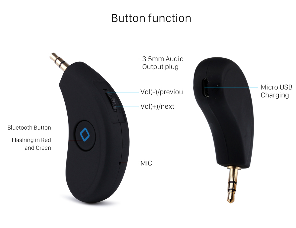 Button function Wireless Bluetooth Music Audio Receiver Box Music Player with Hands-free calling