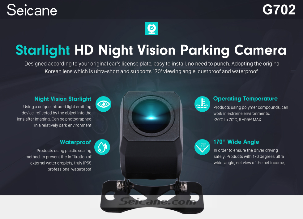 Seicane 170 Degree Wide Angle Starlight HD Night Vision Rearview Camera Waterproof Parking Assistance system for Car Radio Big Screen