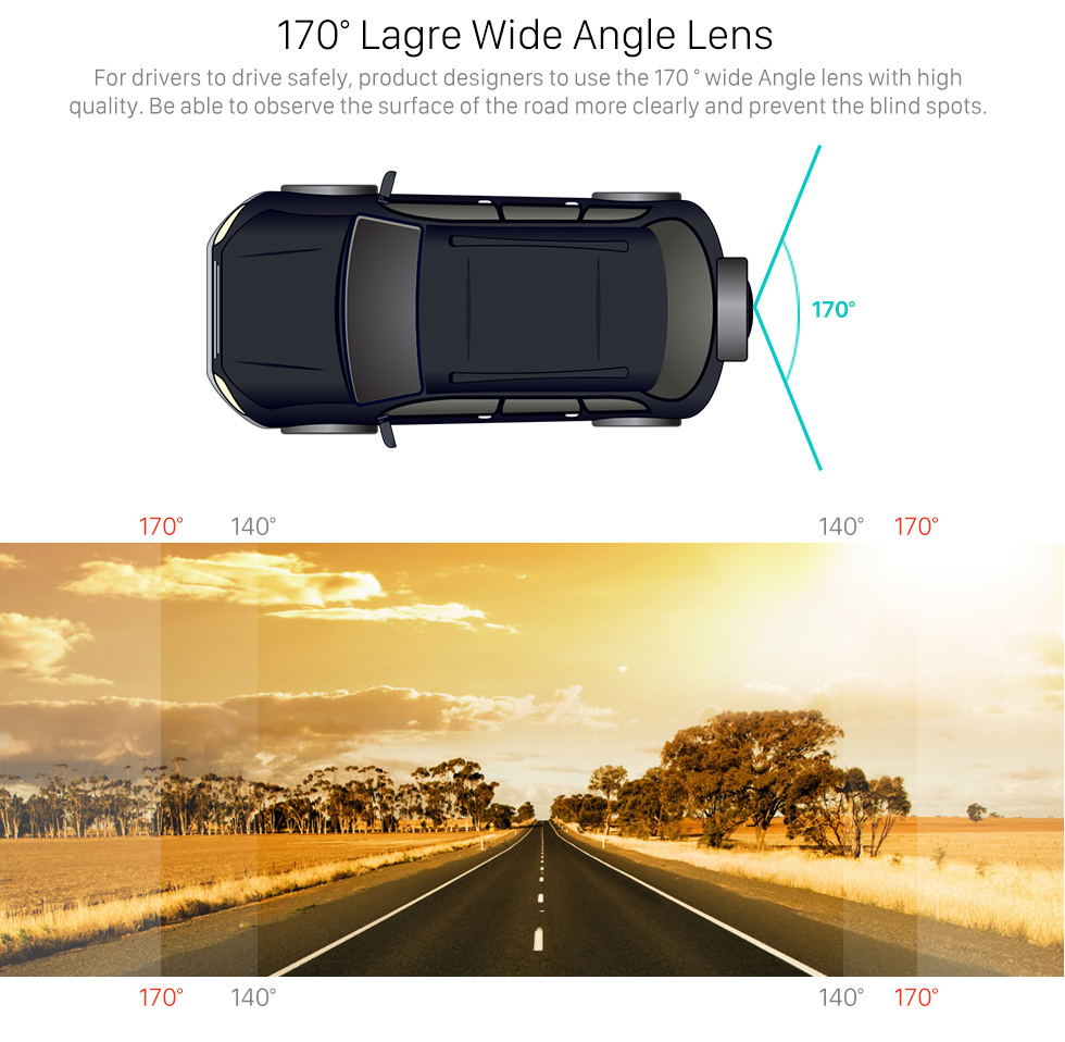 170 Large Wide Angle Lens 170 Degree Wide Angle Starlight HD Night Vision Rearview Camera Waterproof Parking Assistance system for Car Radio Big Screen