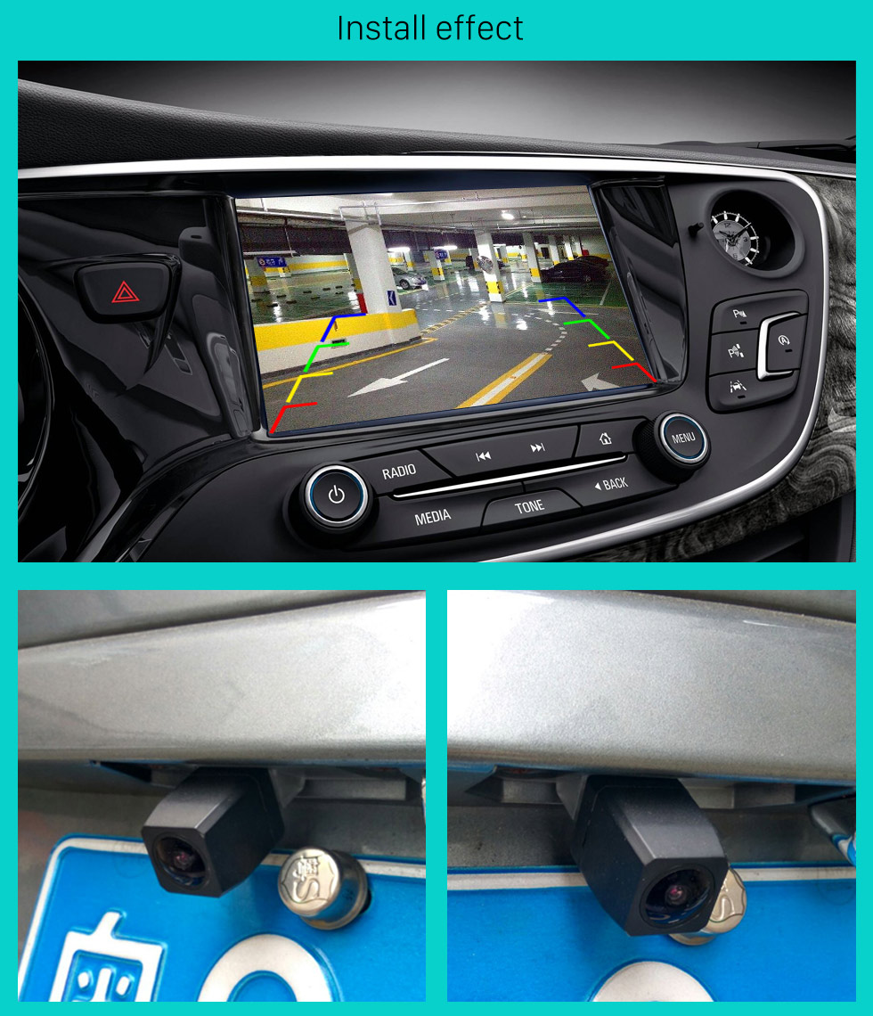 Install effect 170 Degree Wide Angle Starlight HD Night Vision Rearview Camera Waterproof Parking Assistance system for Car Radio Big Screen