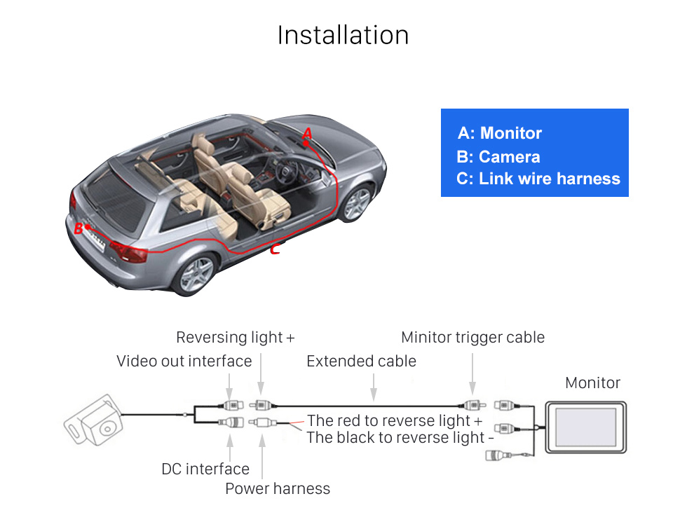 Installation 170 Degree Wide Angle Starlight HD Night Vision Rearview Camera Waterproof Parking Assistance system for Car Radio Big Screen