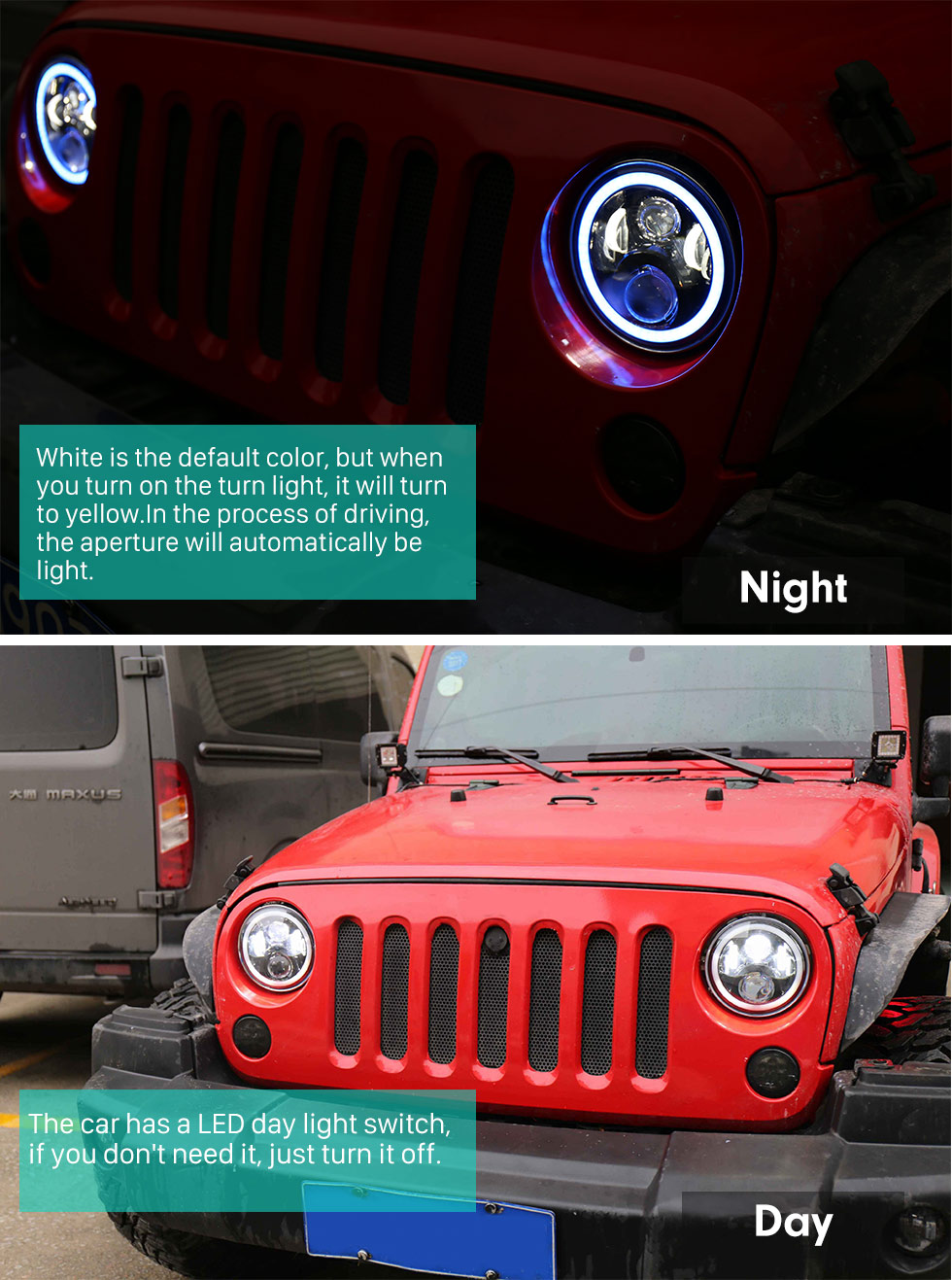 Seicane 7 inch Car Front LED Halo Headlight Refit Daylight Round Lamps for 1996-2017 Jeep Wrangler 2PCs