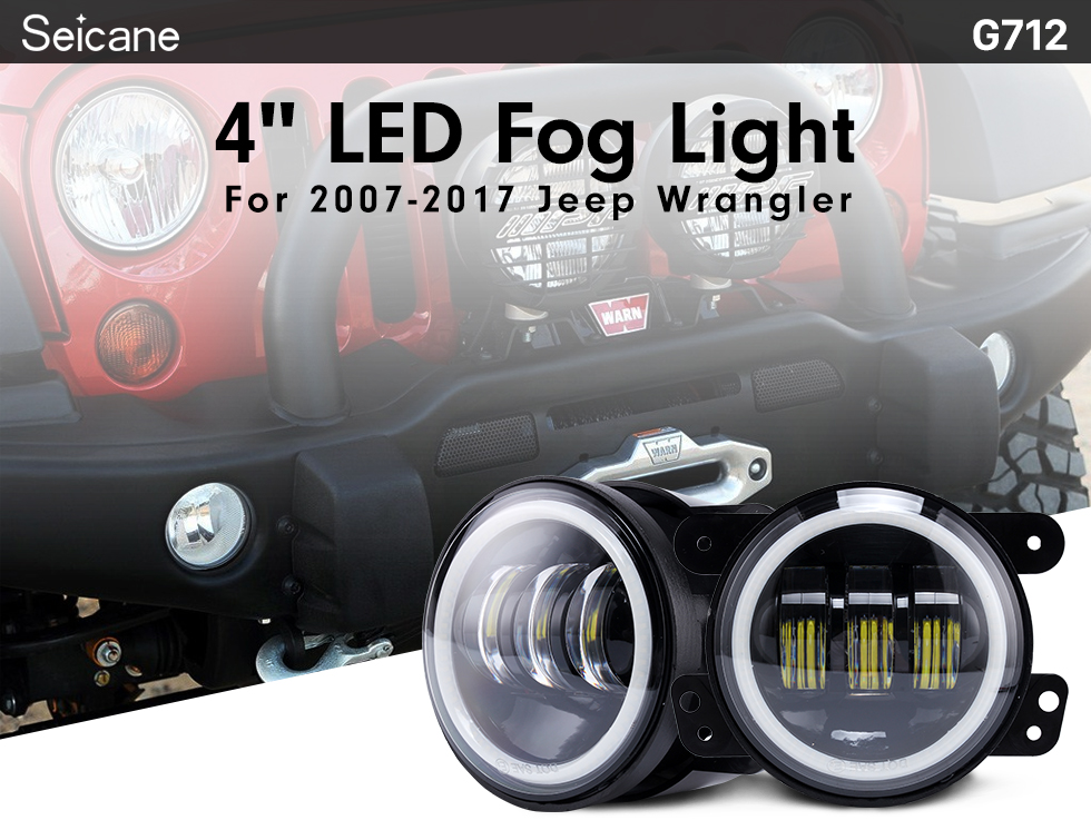 Seicane 4 inch Car Front LED Halo Headlight Refit Daylight Round Lamps for 1996-2017 Jeep Wrangler 2PCs