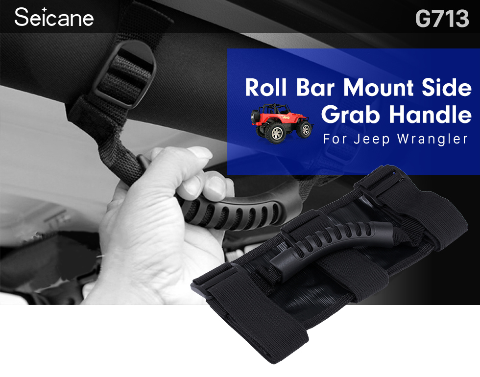 Seicane Car Accessories Roll Bar Mount Side Grab Handle Safety Kit for Jeep Wrangler