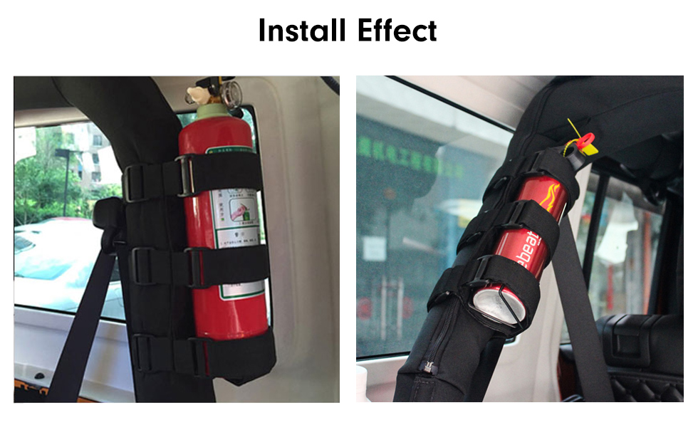 Install Effect New Interior Roll Bar Fire Extinguisher Holder Safety Protection Kit for Jeep Wrangler Car Accessories