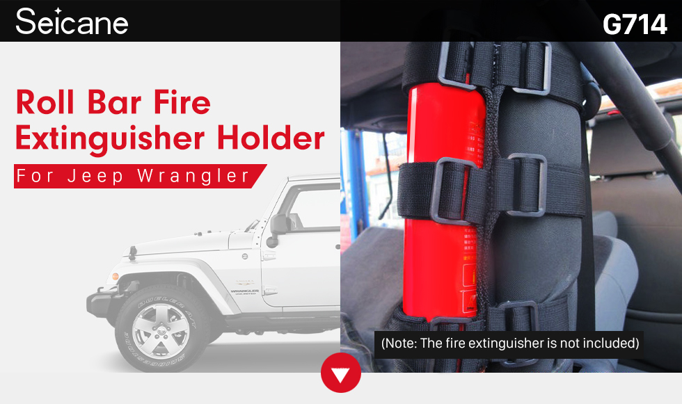 Seicane New Interior Roll Bar Fire Extinguisher Holder Safety Protection Kit for Jeep Wrangler Car Accessories