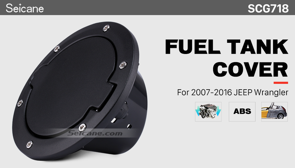 Seicane Black Car Engine Gas Oil Filler Cap Fuel Tank Cover for 2007-2016 Jeep Wrangler