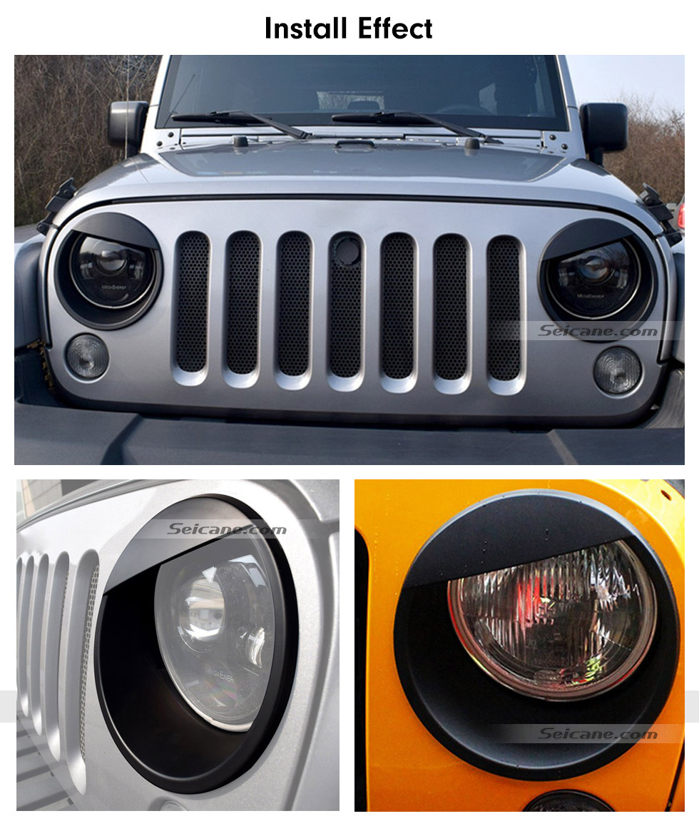 Seicane Front Light Panel Angry Birds Style ABS Headlight Bezels Trim Cover for 2005-2016 Jeep Wrangler Car Accessories 2pcs