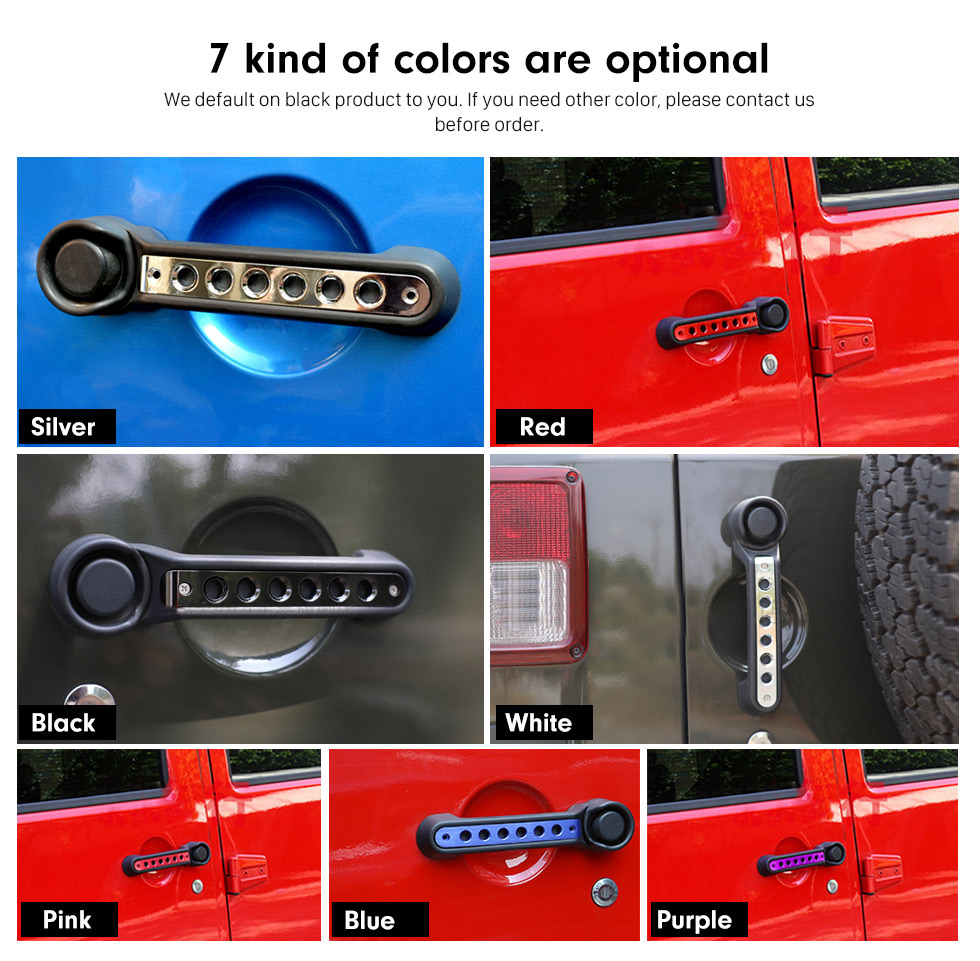 Seicane Car Accessories Door Handle Trim Aluminum Sticker Cover Bar Installation Kit for Jeep Wrangler