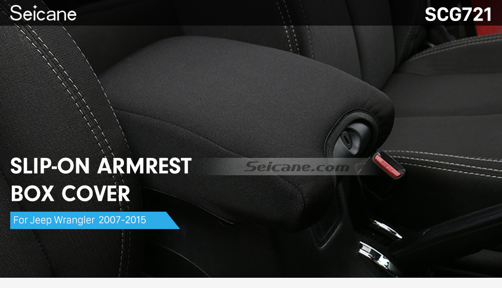 Seicane Car Inner Center Console Soft Pad Slip-On Armrest Box Cover for 2007-2015 Jeep Wrangler