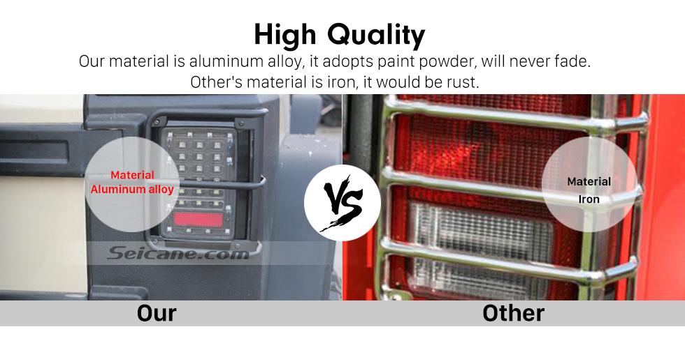 Seicane 2pcs Metall hinterer Endstück-Licht-Lampen-Schutz-Abdeckungs-Schutz für 2007-2016 Jeep Wrangler