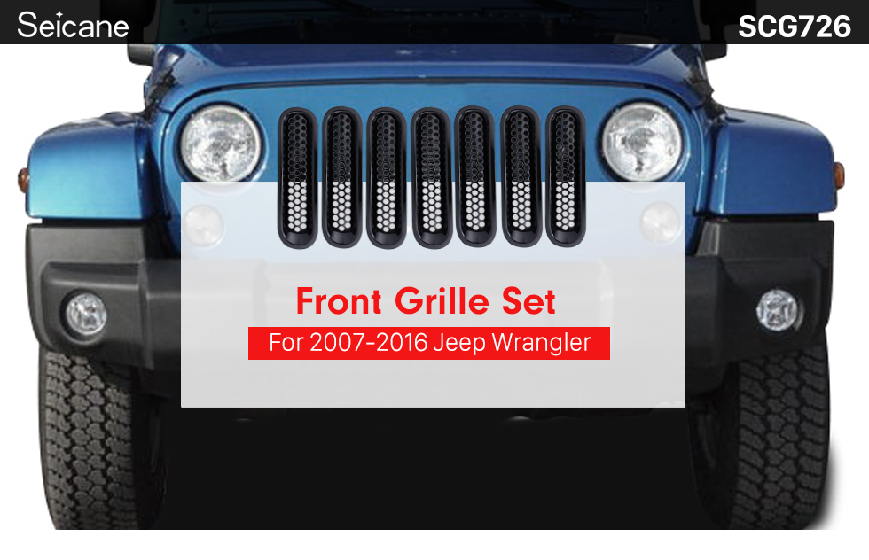 Seicane Car Accessories Black ABS Plastic Front Grille Grid Set for 2007-2016 Jeep Wrangler Mesh Cover 7pcs