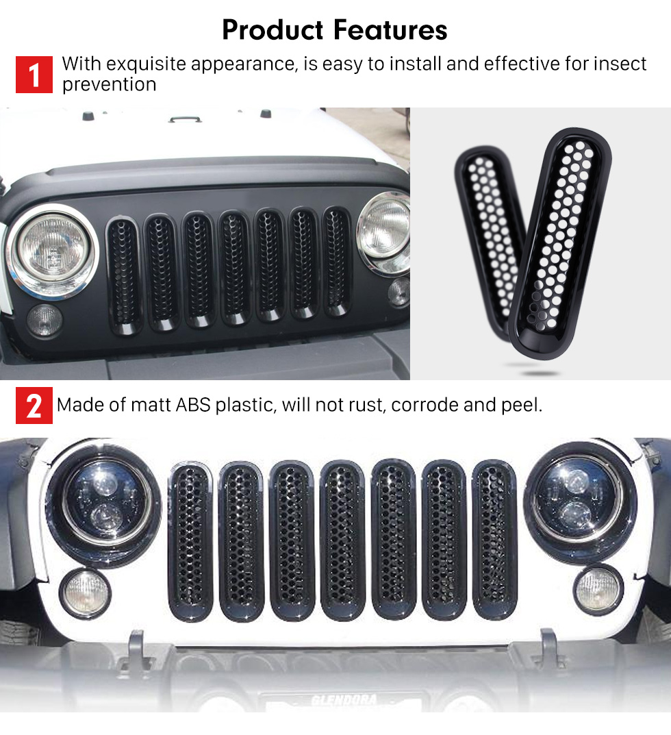 Car Accessories Black ABS Plastic Front Grille Grid Set for