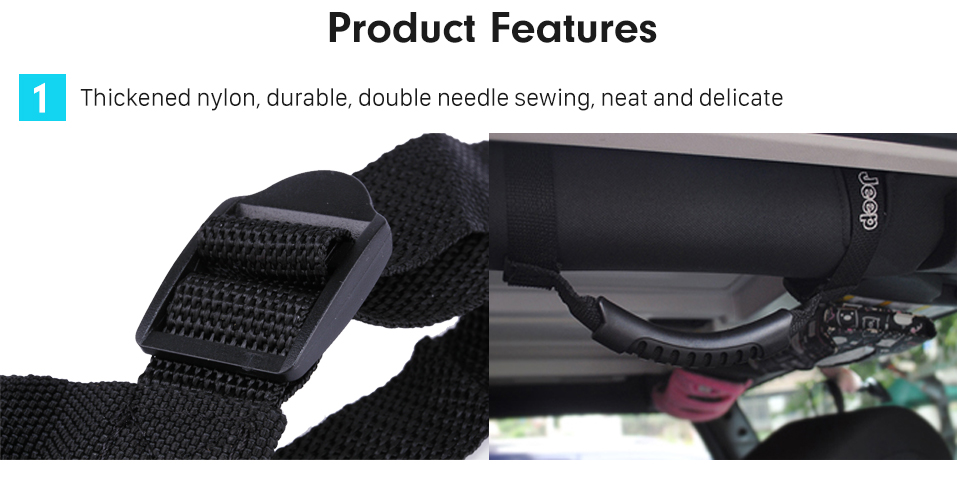 Seicane Thickened Nylon Holder Roll Bar Mount Side Grab Handle Set for Jeep Wrangler/Universal Vehicles Car Accessories
