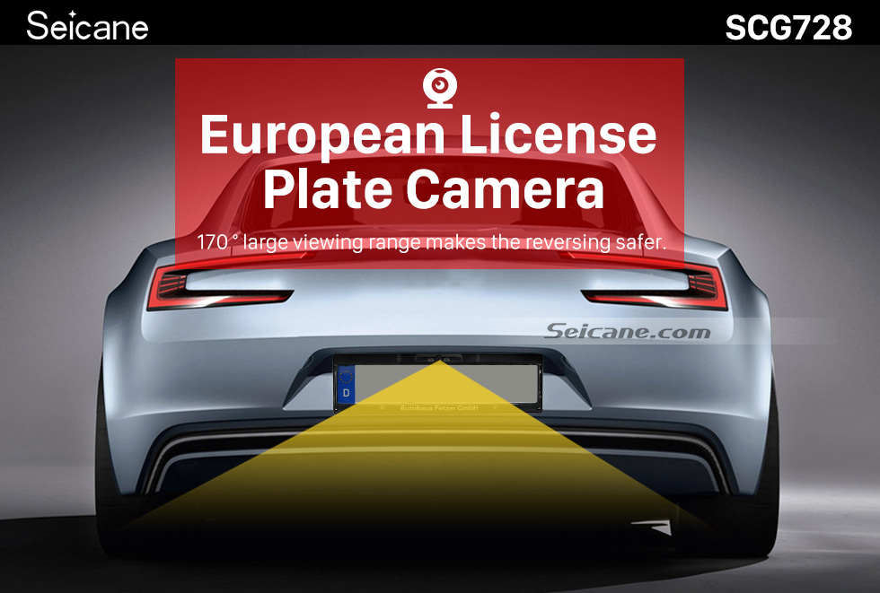 Seicane Universal 170 Degree Large Wide Angle Viewing HD European License Plate Backup Reversing Camera Rearview Night Vision Waterproof Parking Assistance system