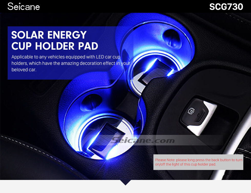 Seicane Solar Energy Car Universal Cup Holder Pad LED Cover Mouldings Trim Bottom Mat 2pcs