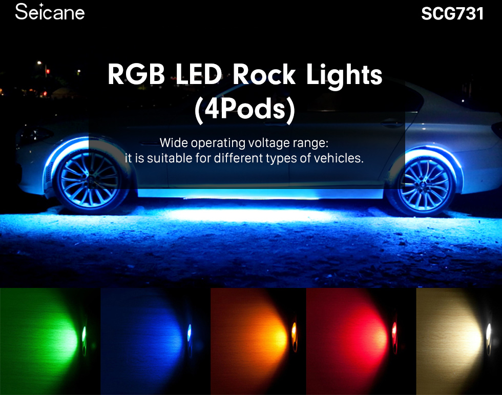 Seicane Car Chassis Bluetooth Control 4 Pods RGB LED Rock Lights for Universal Under Car with Waterproof and Anti-Corrosion