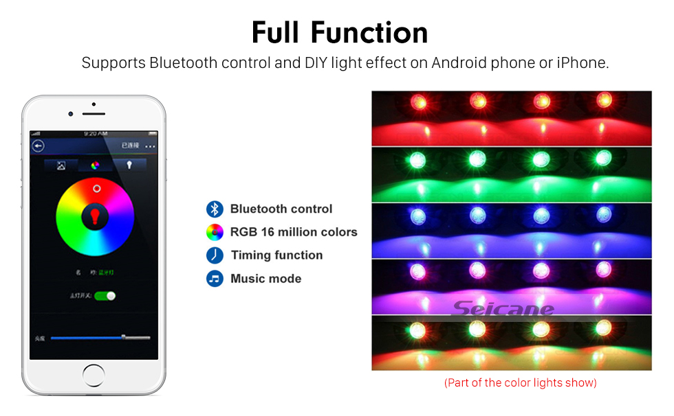 Seicane Newest 8 Pods Under Car RGB LED Rock Lights for Universal Car Chassis with Bluetooth Control Waterproof Anti-corrosion