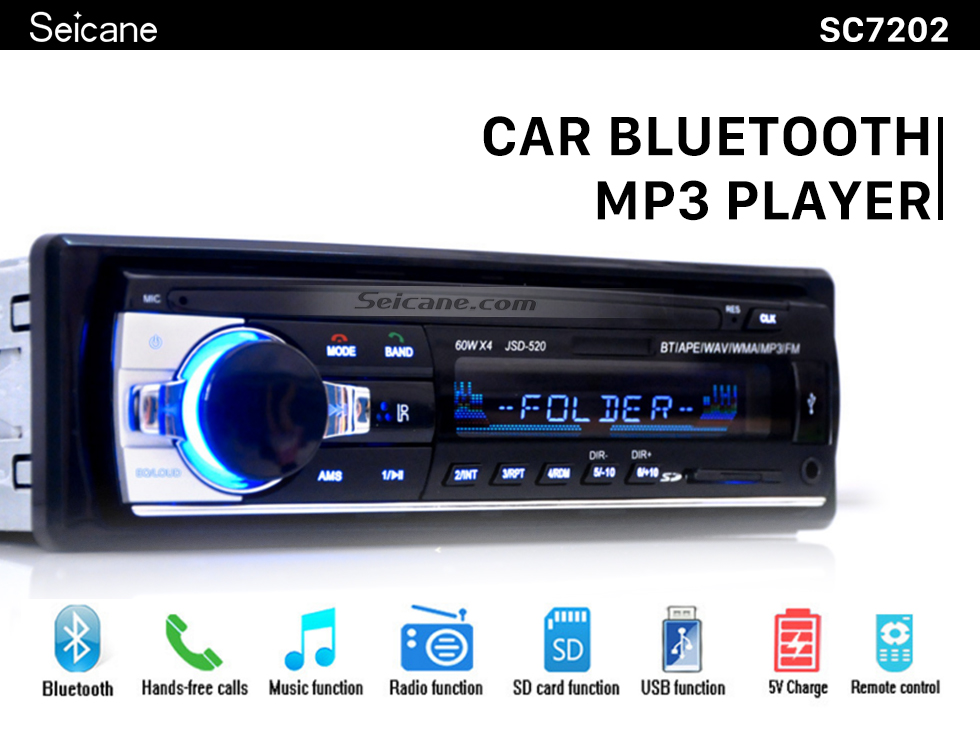 Seicane Universal Single Din Audio Bluetooth Handsfree Calls MP3 Player Car FM Stereo Radio with 4 Channel Output USB SD Remote Control Aux