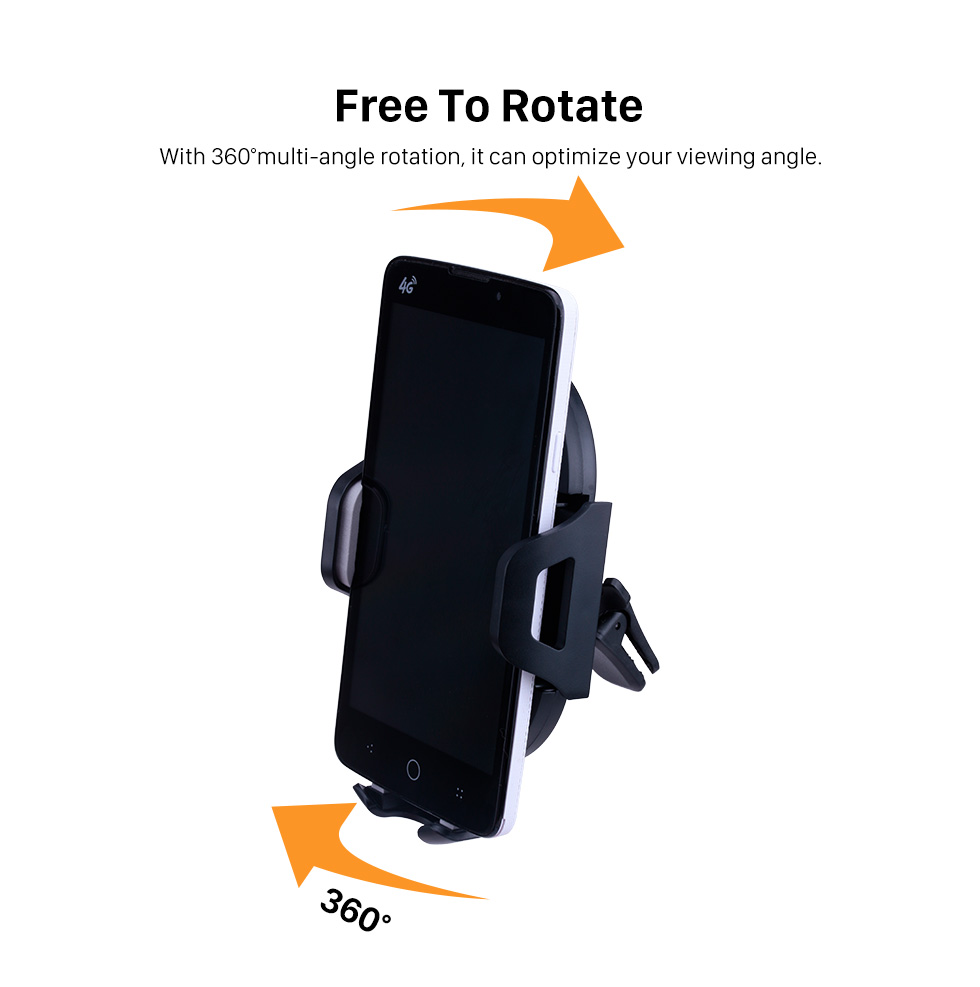 Seicane Car Multi-function 360 Degree Rotation Adjustable Universal Mobile Phone Holder Air Vent Mount Holder