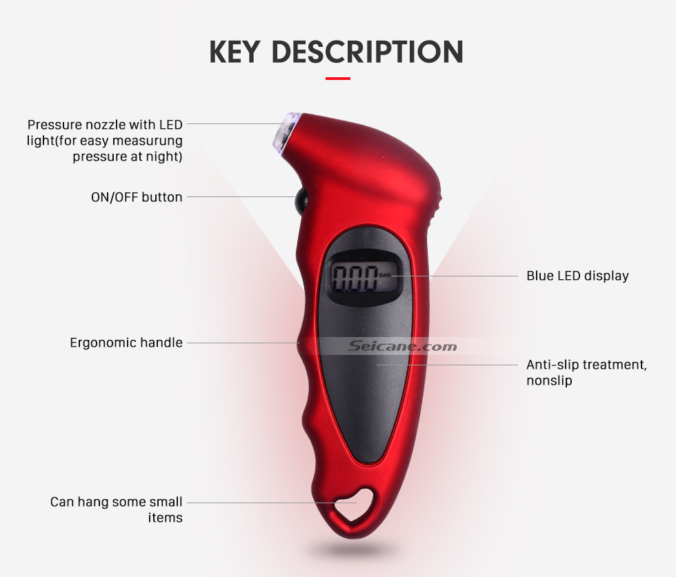 Seicane High precision Car Portable LED Luminous Digital Display Tire Pressure Gauge Electron Measuring Instrument