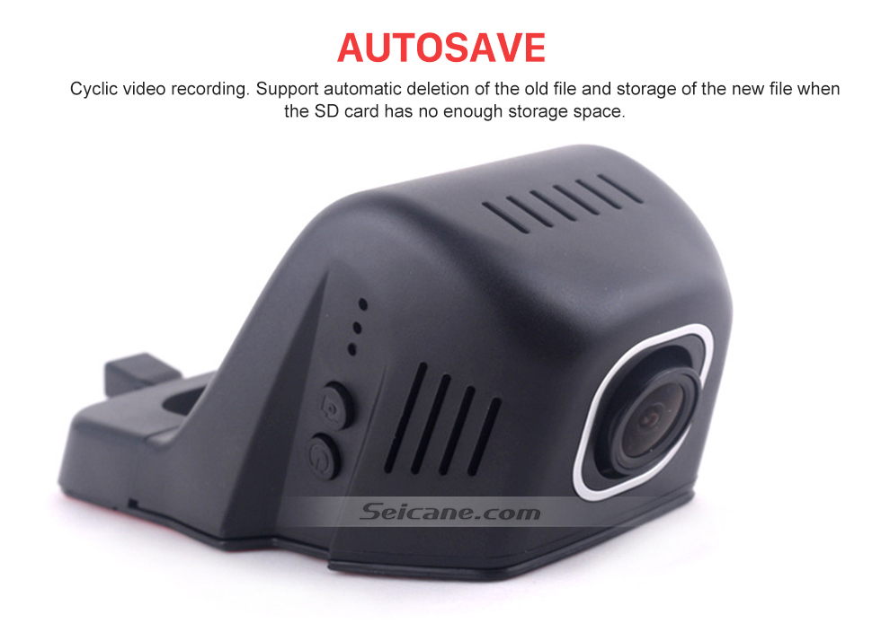 Seicane Universal Hidden HD 170 graus Grande angular Carro Driving Video Recorder com WIFI Telefone Conexão Display GPS Driving Trajectory Estacionamento Monitoramento Backup Rearview Camera